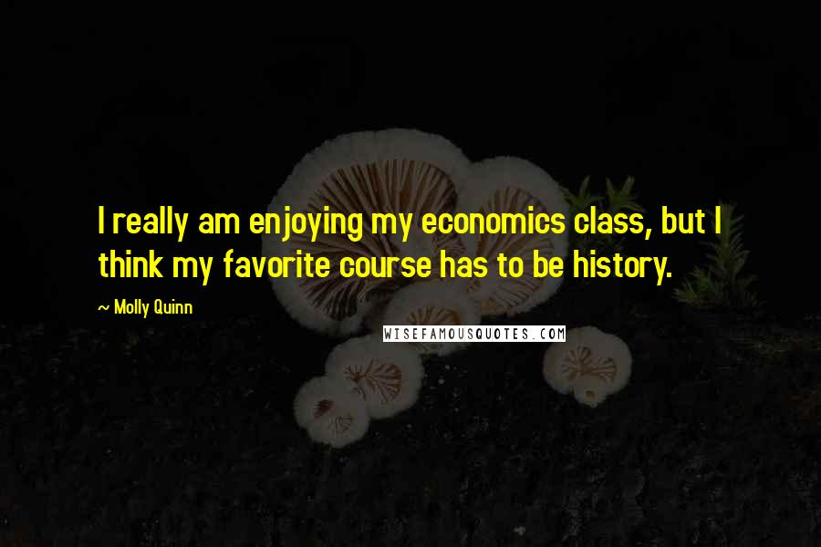 Molly Quinn quotes: I really am enjoying my economics class, but I think my favorite course has to be history.