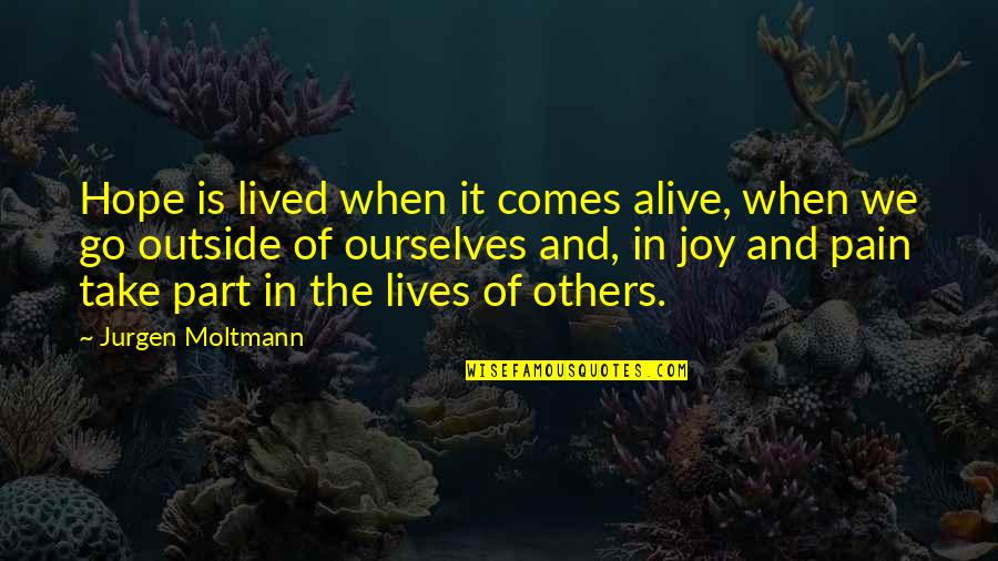 Moltmann Quotes By Jurgen Moltmann: Hope is lived when it comes alive, when