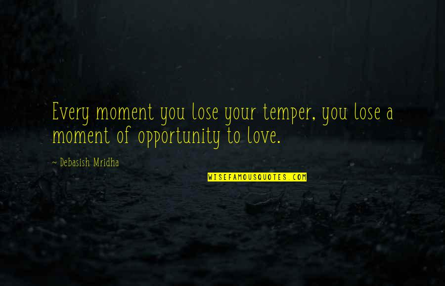 Moment Of Happiness Quotes By Debasish Mridha: Every moment you lose your temper, you lose