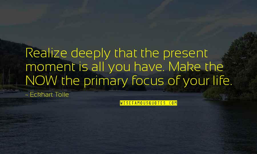 Moment Of Realization Quotes By Eckhart Tolle: Realize deeply that the present moment is all