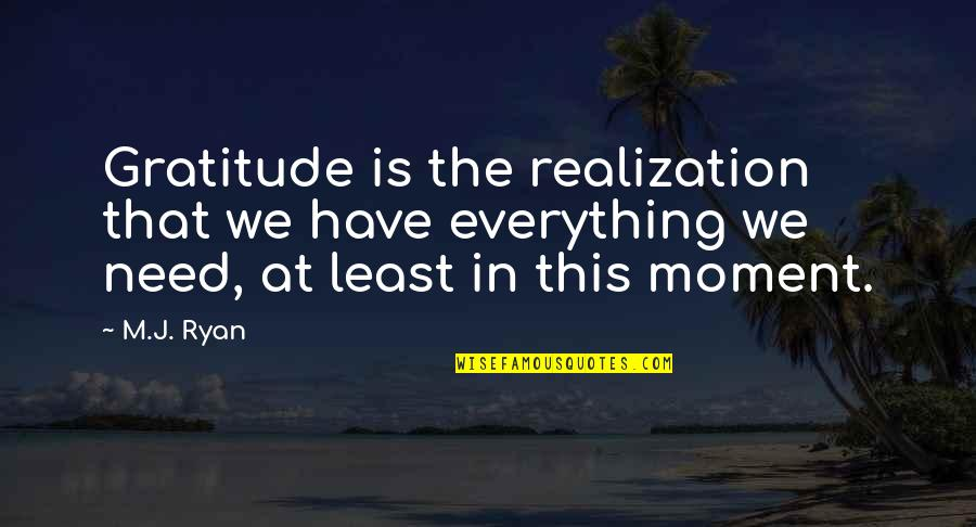 Moment Of Realization Quotes By M.J. Ryan: Gratitude is the realization that we have everything