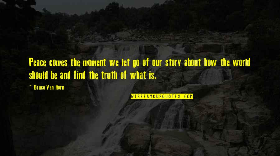 Moment Of Truth Quotes By Bruce Van Horn: Peace comes the moment we let go of
