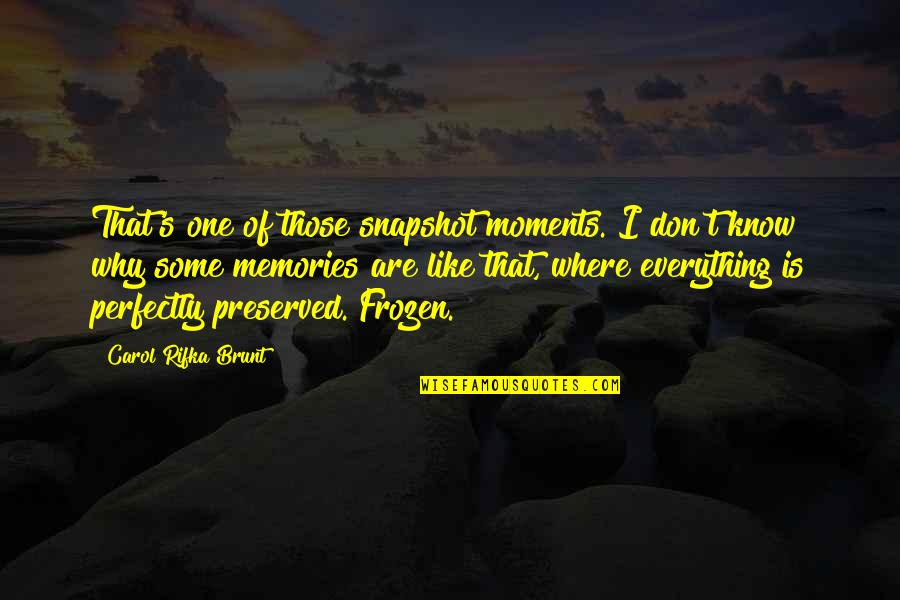 Moments And Memories Quotes By Carol Rifka Brunt: That's one of those snapshot moments. I don't