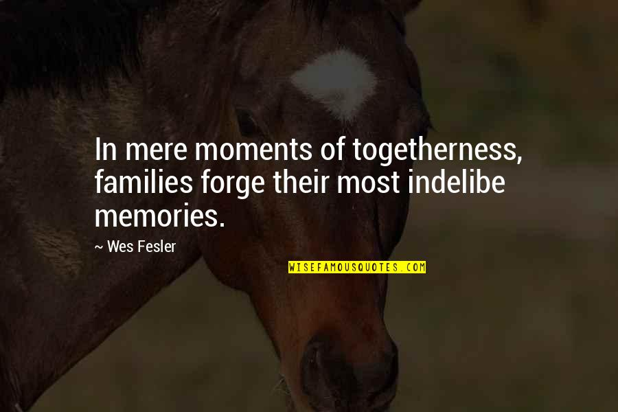 Moments And Memories Quotes By Wes Fesler: In mere moments of togetherness, families forge their