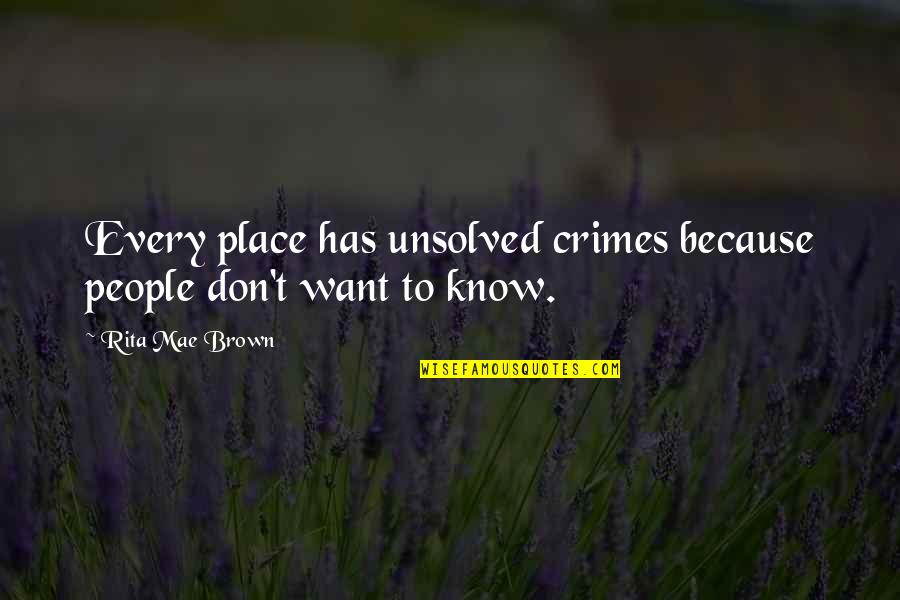 Moments Of Weakness Quotes By Rita Mae Brown: Every place has unsolved crimes because people don't