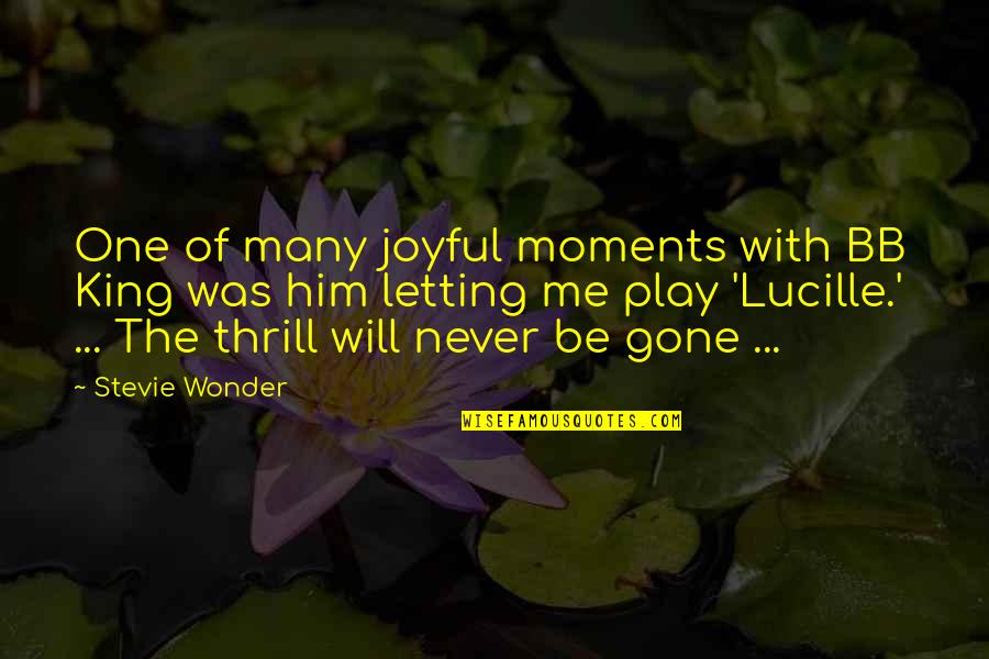 Moments With Him Quotes By Stevie Wonder: One of many joyful moments with BB King