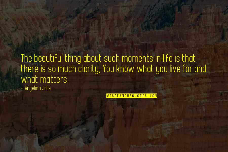 Moments You Live For Quotes By Angelina Jolie: The beautiful thing about such moments in life