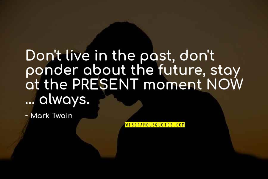 Moments You Live For Quotes By Mark Twain: Don't live in the past, don't ponder about
