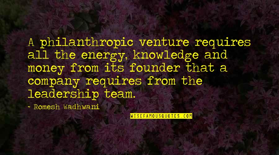 Money And Knowledge Quotes By Romesh Wadhwani: A philanthropic venture requires all the energy, knowledge