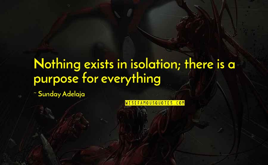 Money Is Over Everything Quotes By Sunday Adelaja: Nothing exists in isolation; there is a purpose