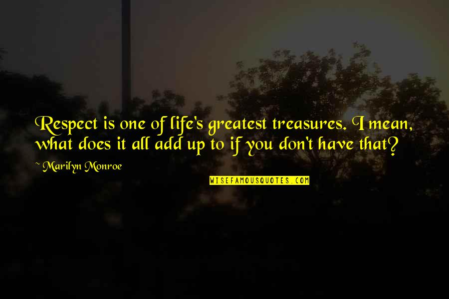 Monroe's Quotes By Marilyn Monroe: Respect is one of life's greatest treasures. I