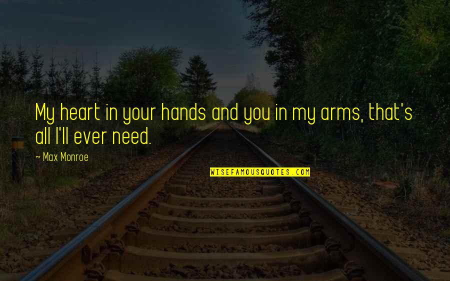 Monroe's Quotes By Max Monroe: My heart in your hands and you in
