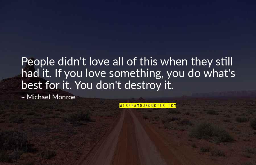 Monroe's Quotes By Michael Monroe: People didn't love all of this when they