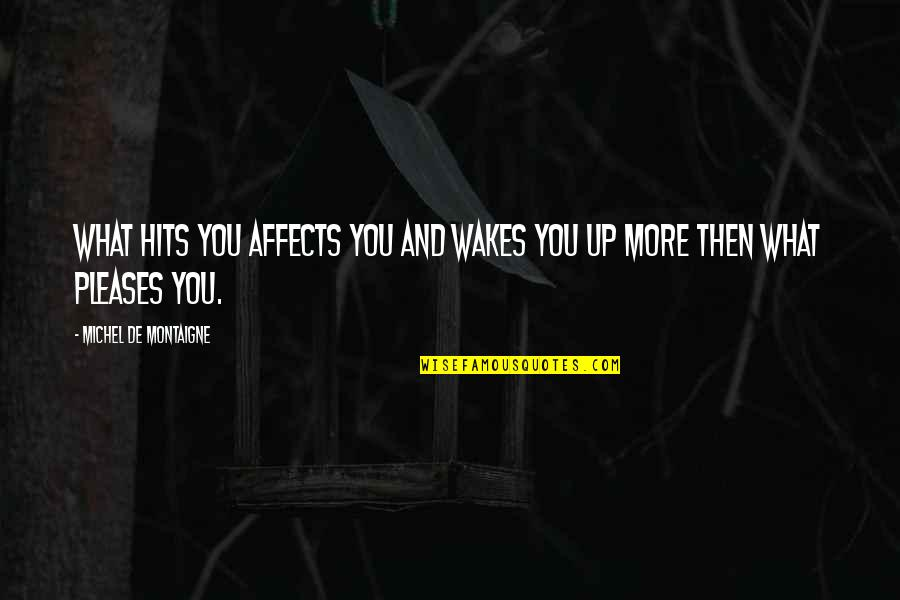 Montaigne Quotes By Michel De Montaigne: What hits you affects you and wakes you