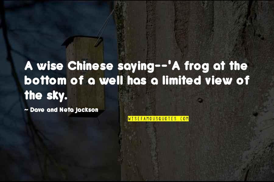 Moon And Sky Quotes By Dave And Neta Jackson: A wise Chinese saying--'A frog at the bottom