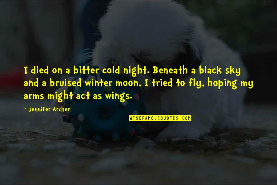 Moon And Sky Quotes By Jennifer Archer: I died on a bitter cold night. Beneath