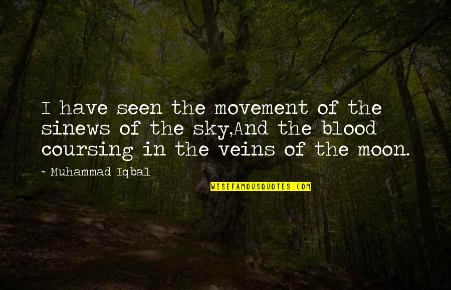 Moon And Sky Quotes By Muhammad Iqbal: I have seen the movement of the sinews