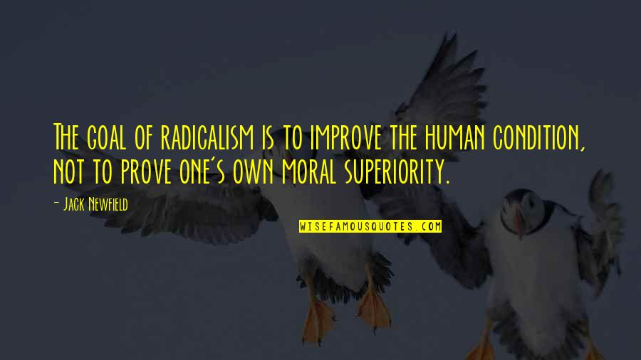 Moral Superiority Quotes By Jack Newfield: The goal of radicalism is to improve the