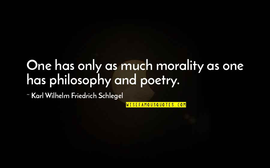 Morality Philosophy Quotes By Karl Wilhelm Friedrich Schlegel: One has only as much morality as one