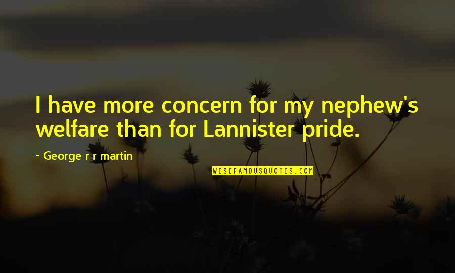 More Than Family Quotes By George R R Martin: I have more concern for my nephew's welfare