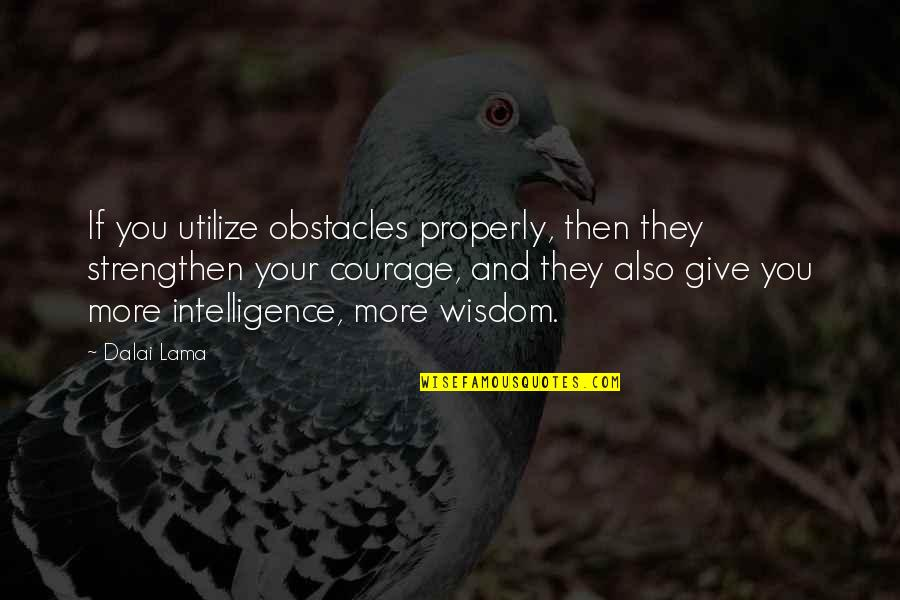 More You Give Quotes By Dalai Lama: If you utilize obstacles properly, then they strengthen