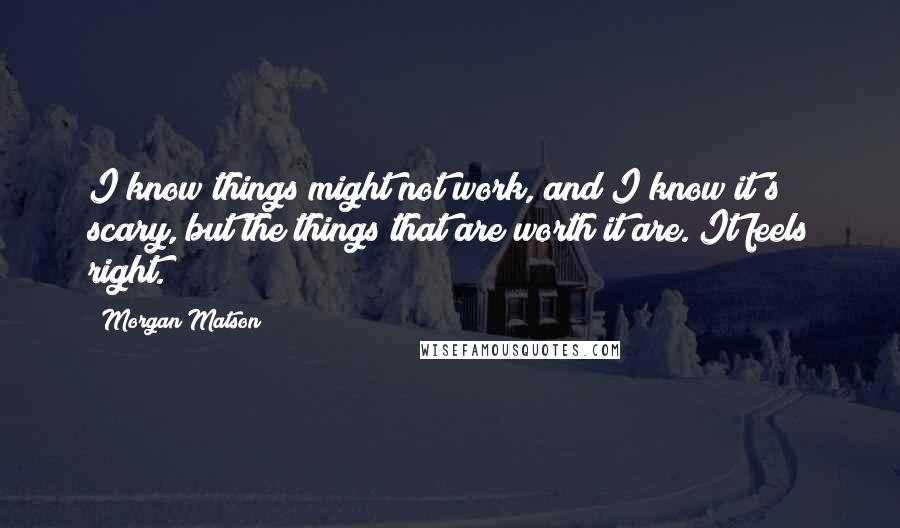 Morgan Matson quotes: I know things might not work, and I know it's scary, but the things that are worth it are. It feels right.