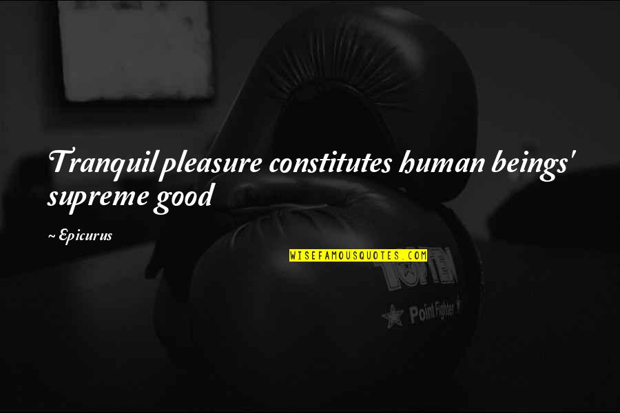 Mork And Mindy Funny Quotes By Epicurus: Tranquil pleasure constitutes human beings' supreme good