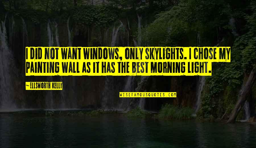 Morning Light Quotes By Ellsworth Kelly: I did not want windows, only skylights. I
