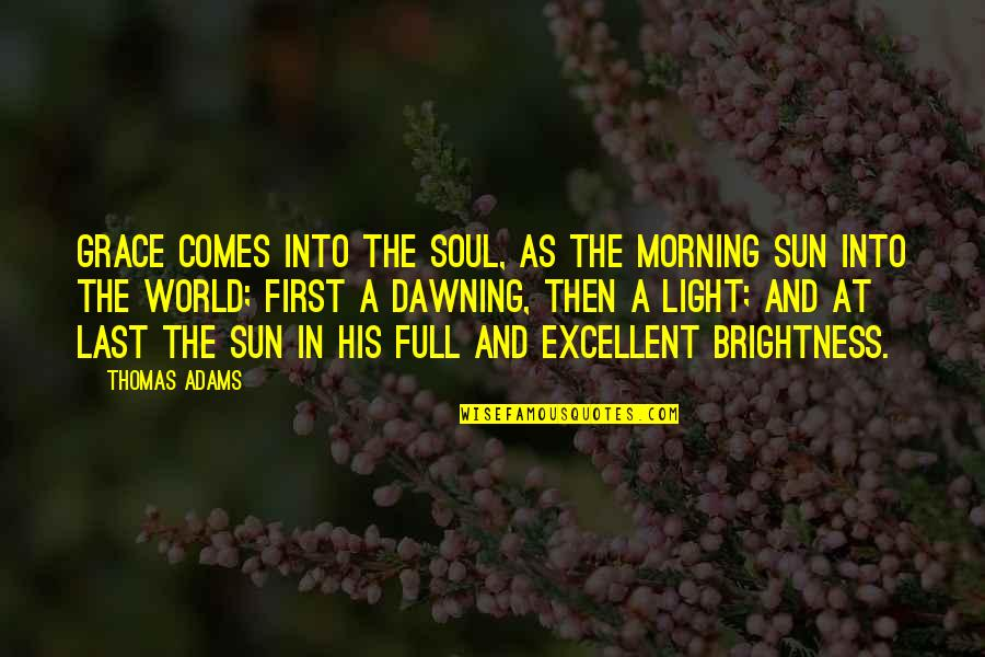 Morning Sun Quotes By Thomas Adams: Grace comes into the soul, as the morning