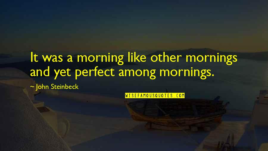 Morning With Nature Quotes By John Steinbeck: It was a morning like other mornings and