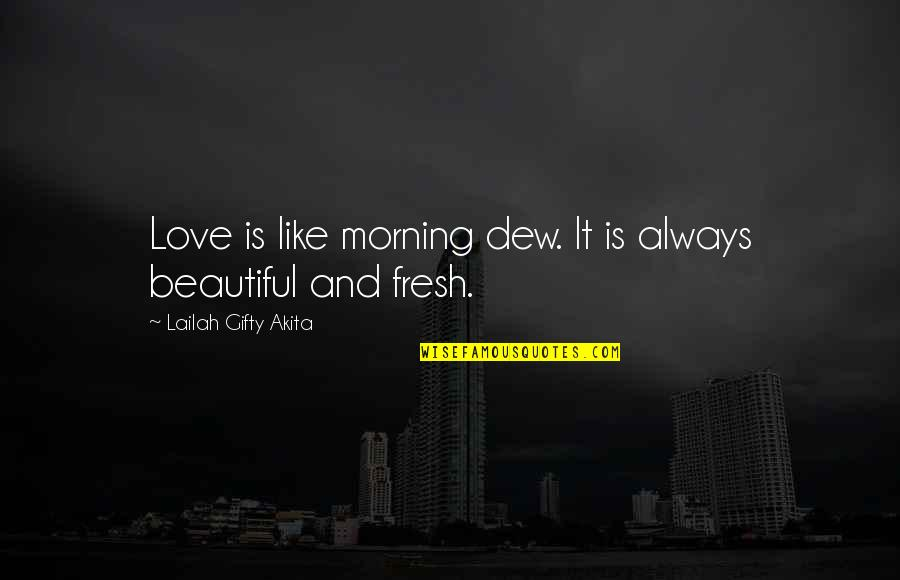 Morning With Nature Quotes By Lailah Gifty Akita: Love is like morning dew. It is always