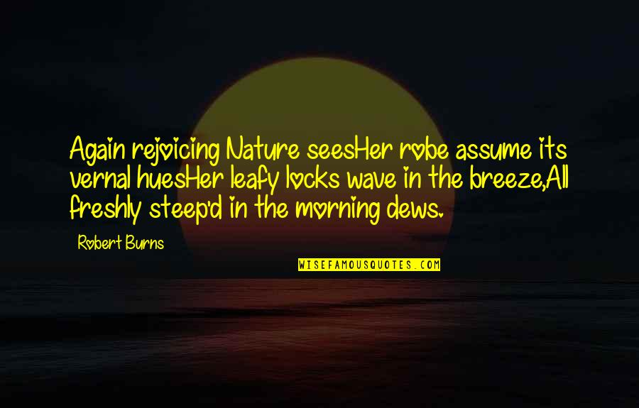 Morning With Nature Quotes By Robert Burns: Again rejoicing Nature seesHer robe assume its vernal