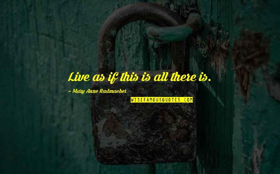 Mortal Instrumen Quotes By Mary Anne Radmacher: Live as if this is all there is.