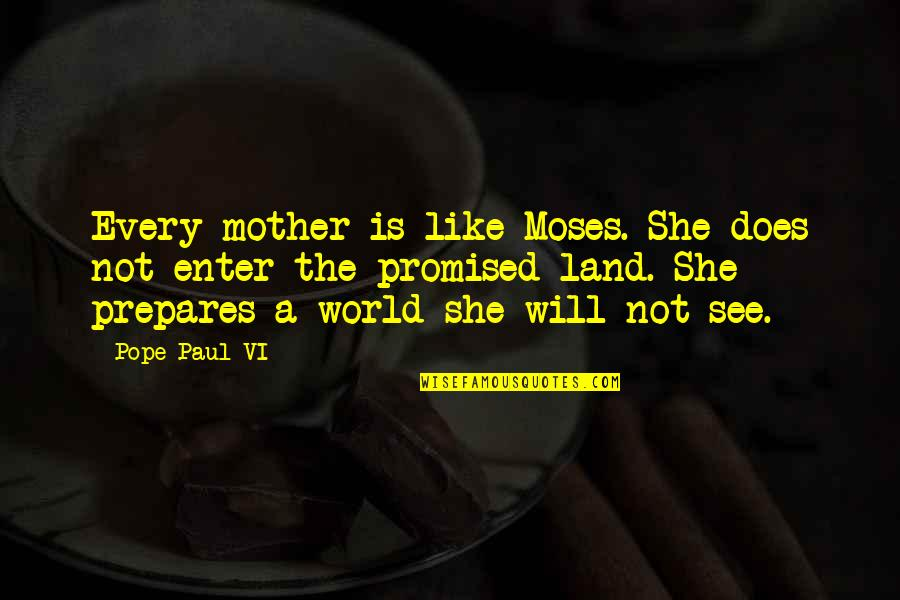 Moses Quotes By Pope Paul VI: Every mother is like Moses. She does not