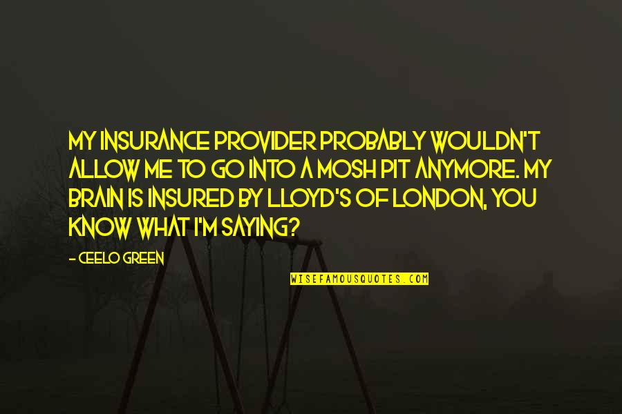 Mosh Pit Quotes By CeeLo Green: My insurance provider probably wouldn't allow me to