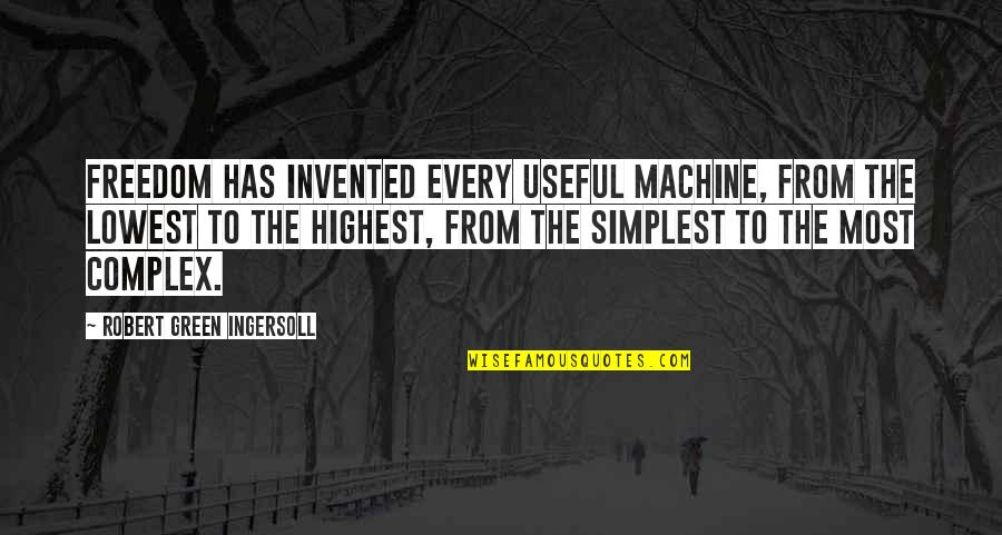 Most Complex Quotes By Robert Green Ingersoll: Freedom has invented every useful machine, from the