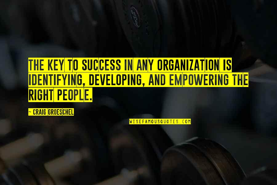 Most Empowering Quotes By Craig Groeschel: The key to success in any organization is