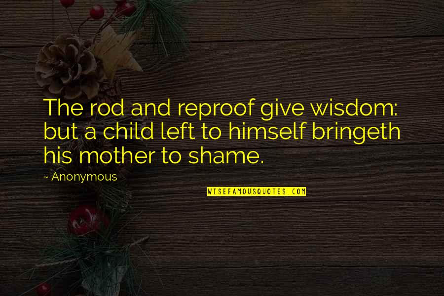 Most Inspirational Mother Quotes By Anonymous: The rod and reproof give wisdom: but a