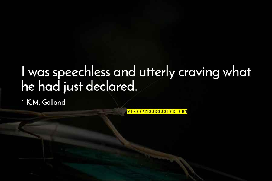 Most Inspirational One Line Quotes By K.M. Golland: I was speechless and utterly craving what he