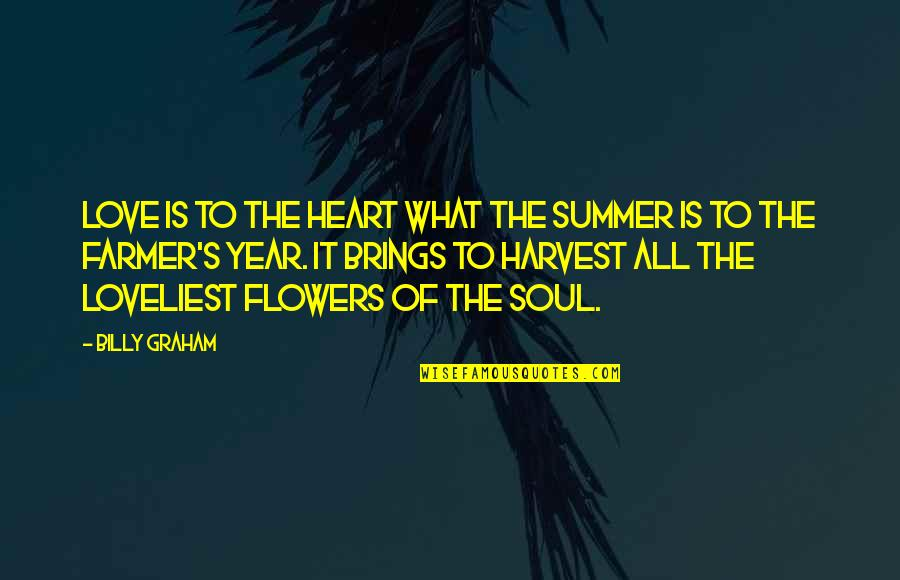 Most Loveliest Love Quotes By Billy Graham: Love is to the heart what the summer