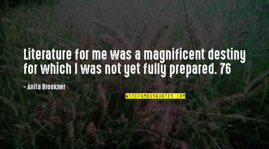 Most Magnificent Quotes By Anita Brookner: Literature for me was a magnificent destiny for