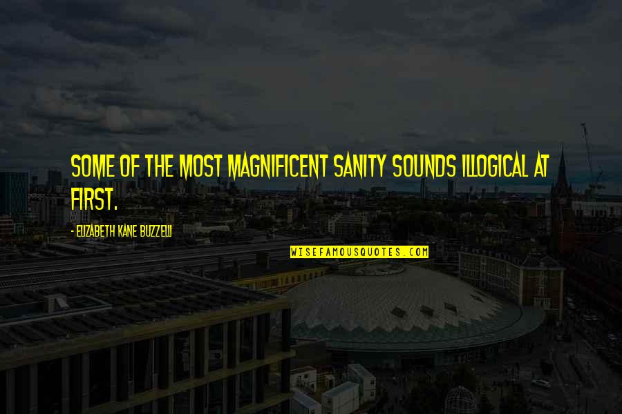 Most Magnificent Quotes By Elizabeth Kane Buzzelli: Some of the most magnificent sanity sounds illogical