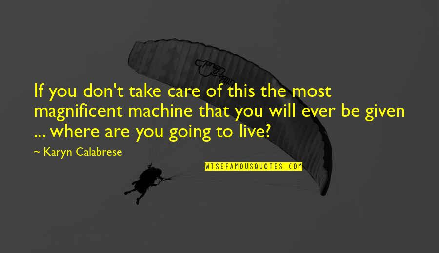 Most Magnificent Quotes By Karyn Calabrese: If you don't take care of this the