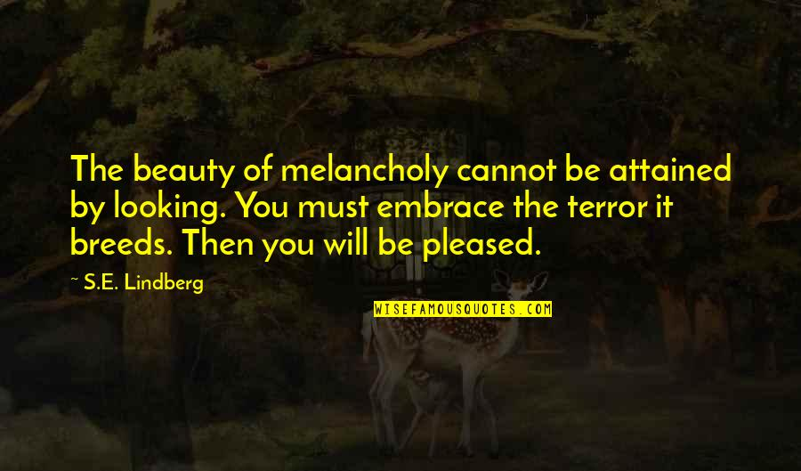 Most Melancholy Quotes By S.E. Lindberg: The beauty of melancholy cannot be attained by