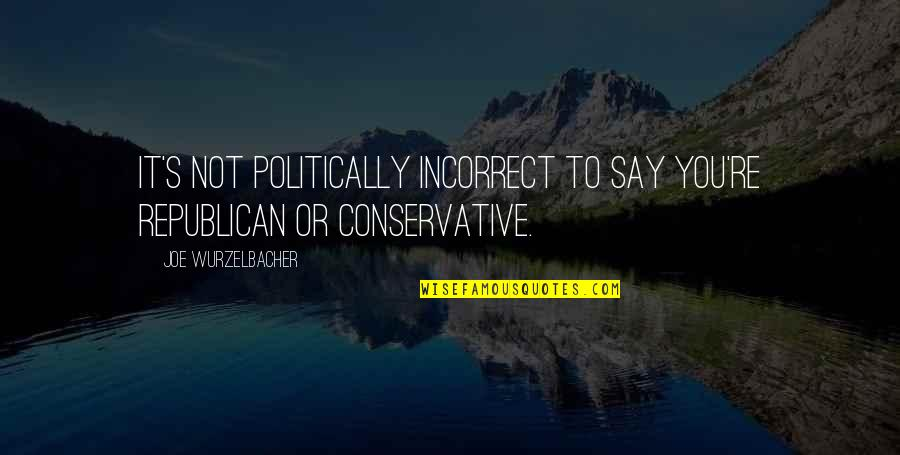 Most Politically Incorrect Quotes By Joe Wurzelbacher: It's not politically incorrect to say you're Republican