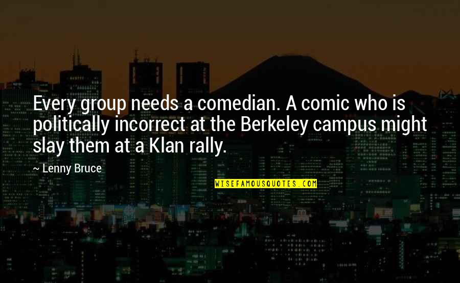 Most Politically Incorrect Quotes By Lenny Bruce: Every group needs a comedian. A comic who