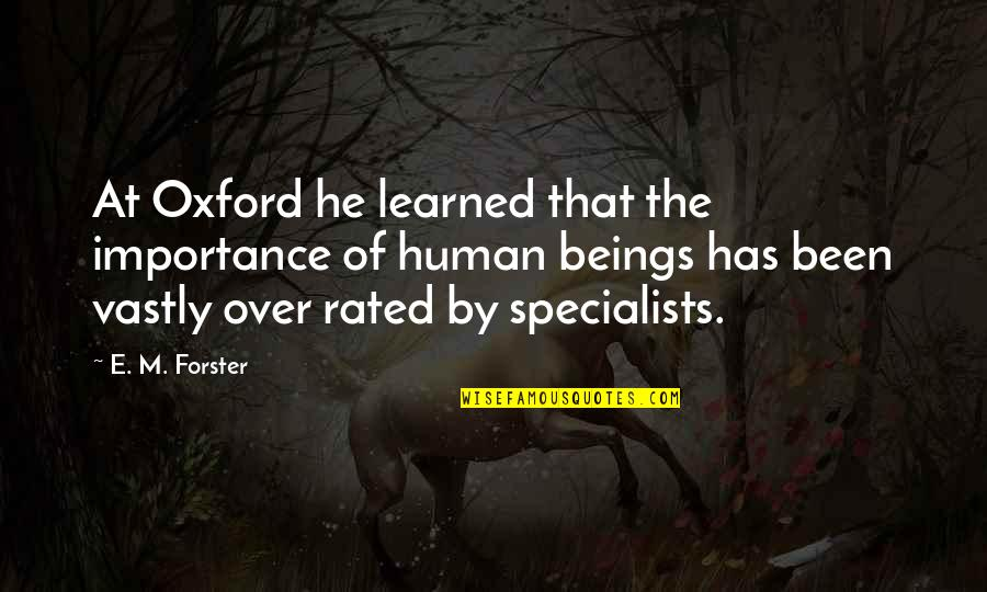 Most Rated Quotes By E. M. Forster: At Oxford he learned that the importance of