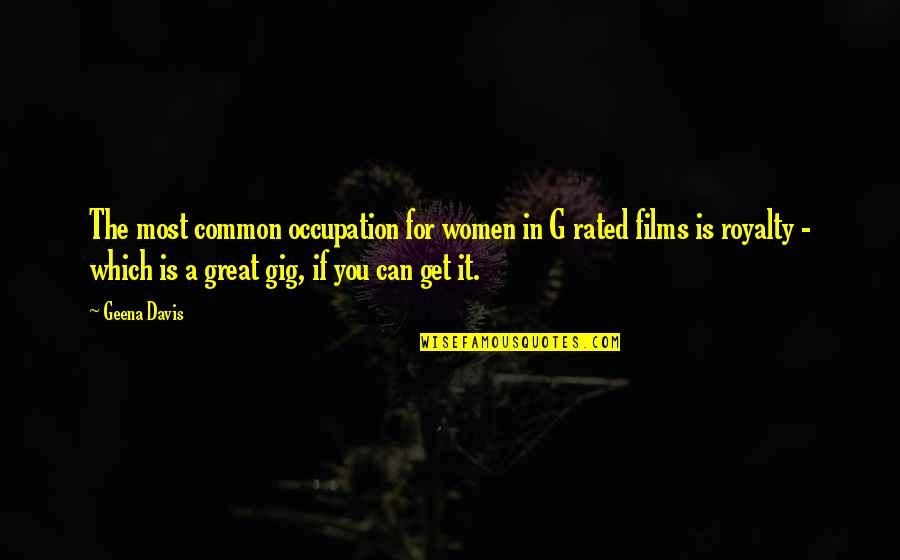 Most Rated Quotes By Geena Davis: The most common occupation for women in G