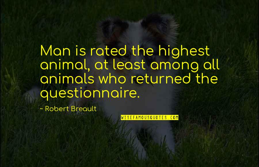 Most Rated Quotes By Robert Breault: Man is rated the highest animal, at least