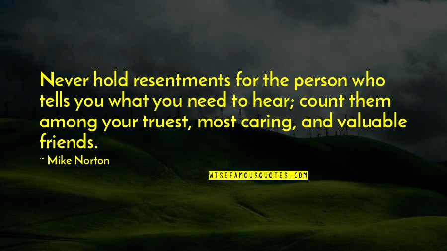 Most Valuable Person Quotes By Mike Norton: Never hold resentments for the person who tells
